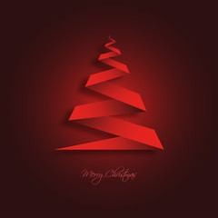 Christmas Tree Background Red Origami