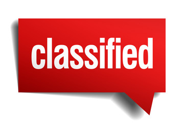 classified red 3d realistic paper speech bubble