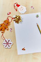 Santa wishlist with space for copy