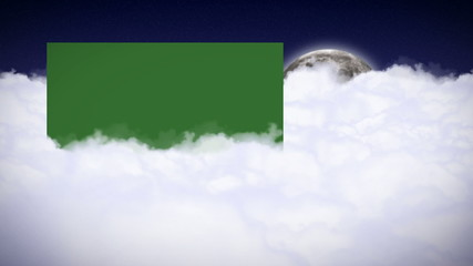 Sky, Clouds, Moon and Green Screen