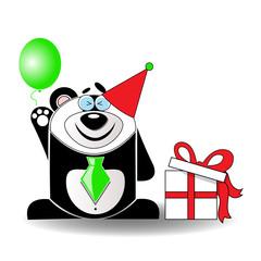 Toy Panda Celebrating its Birthday.