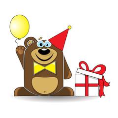 Toy Bear Celebrating its Birthday.