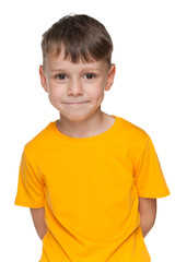 Cute little boy in yellow shirt