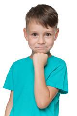 Smiling little boy in a blue shirt