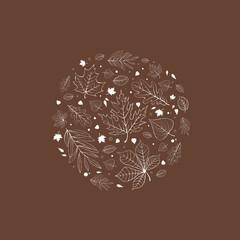Autumn leaves design white outline on brown
