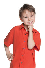 Cute little boy in a red shirt
