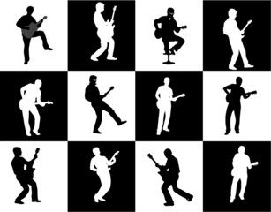 guitar player silhouette set