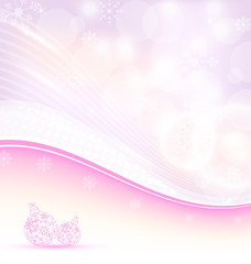 Christmas wavy background with snowflakes and balls