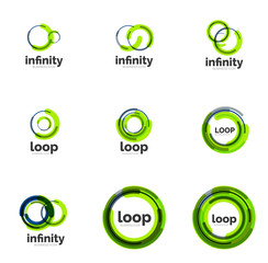 Loop, infinity business icon set