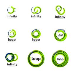 Loop, infinity business icon set