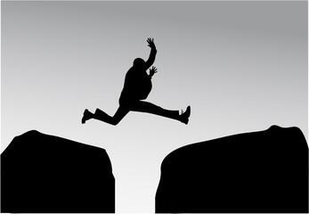 Silhouette of a man in a jump