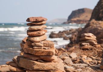 Pile of stones in Pregonda beach