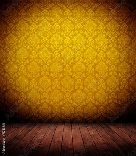 canvas print picture barocker Innenraum mit Tapete.