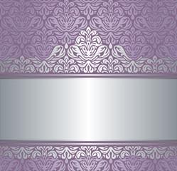 Shiny violet & silver renaissance vintage invitaton background