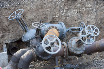 Water valves connects to pipe