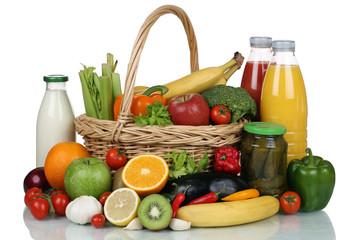 Früchte, Gemüse, Obst, Lebensmittel Einkäufe im Korb