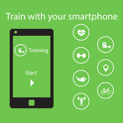 Train with your smartphone, vector illustration, eps10