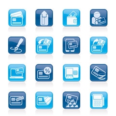 credit card, POS terminal and ATM icons - vector icon set