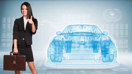 Businesswoman and wire-frame car