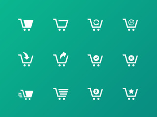 Shopping cart icons on green background.