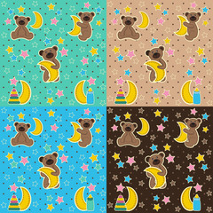 baby texture with bear moon star - vector illustration, eps
