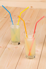 Lemonade on wooden background