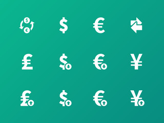 Exchange Rate icons on green background