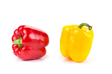 red and yellow pepper isolated