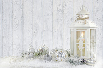 Christmas lantern with ornaments