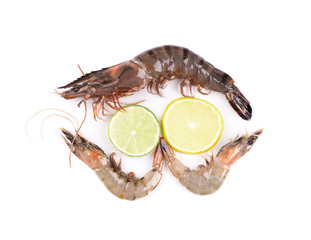 Fresh tiger shrimp with lime
