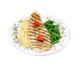 Grilled fish with potatoes and peas