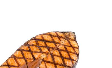 Crispy grilled salmon steak