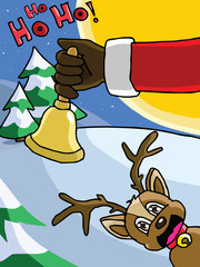 Bell in Santa' s hand vibrate. It's time to send the gifts.