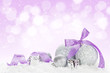 canvas print picture - Christmas baubles and purple ribbon