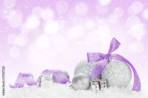 canvas print picture Christmas baubles and purple ribbon