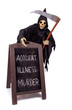 Grim Reaper with menu on white background