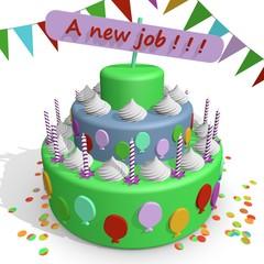 Nieuwe baan - vieren met taart en gebak