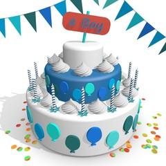Een jongen - vieren met taart