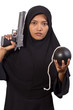 Armed woman with bomb