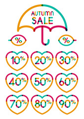 Set of colorful autumn sale discount labels, from 10 to 90 perce