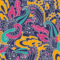 Hand-drawn doodle waves floral pattern, abstract colorful leaves