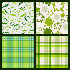 Cotton plant floral and green plaid background. Vector seamless