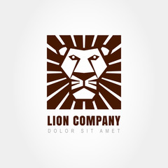 Lion head logo template, symbol of strength, power, guard and se