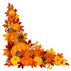 Corner background with pumpkins and autumn leaves. Vector.