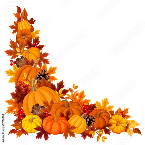 Corner background with pumpkins and autumn leaves. Vector. - 71788984