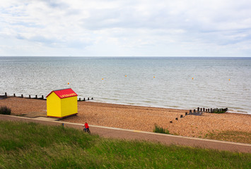 A lifeguard hut by the sea in Whitstable, UK