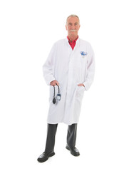 Physician standing on white background