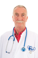 Physician on white background