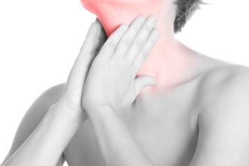 Halsschmerzen - schwarz weiß
