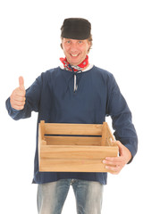 Farmer with crate isolated over white background